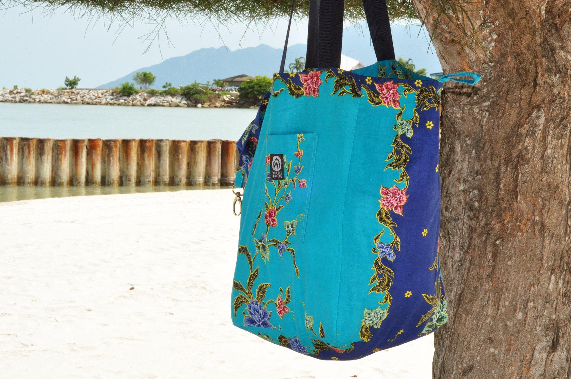 Jumbo beach boho shopper bag  Asian batik material  beautiful blue floral design