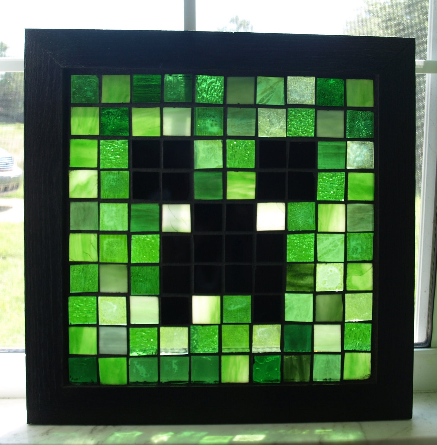 Sale mosaic creeper minecraft stained glass by artfulsalvage for Window design minecraft