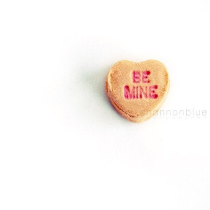 whimsical candy heart photograph / love, heart, romantic, message, valentine's day, anniversary, negative space, minimalist / be mine / 8x8 - shannonpix