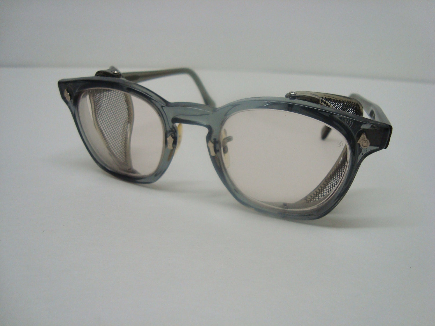 vintage ao safety glasses grey with mesh by