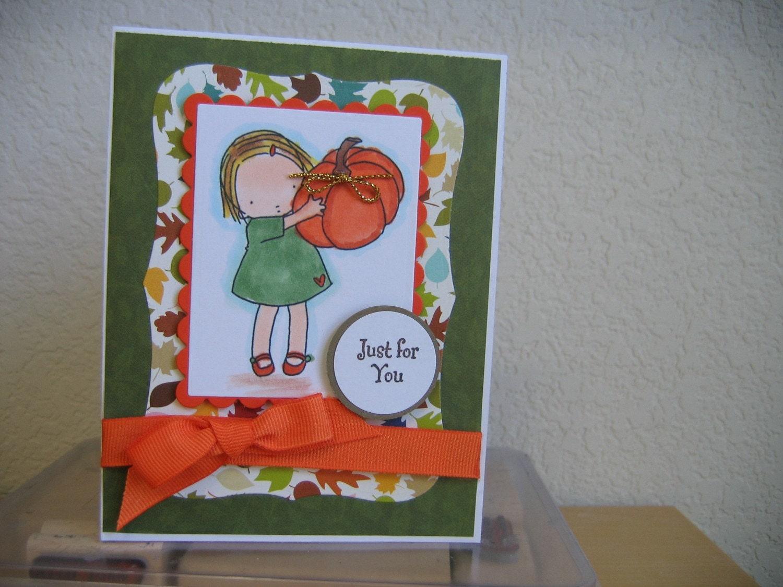 PRETTY LITTLE GIRL BLANK NOTE HANDMADE CARD