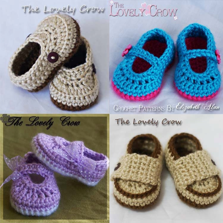 4 Pattern Package, 4 Booties Crochet Patterns