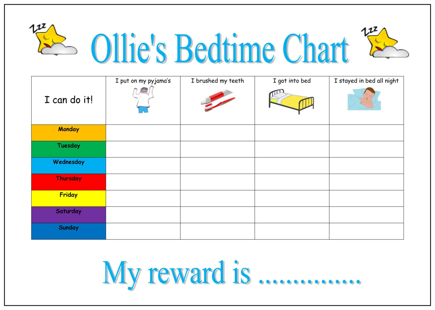 Year-Old-Reward-Charts Printable Bedtime Routine Chart. Pe ...