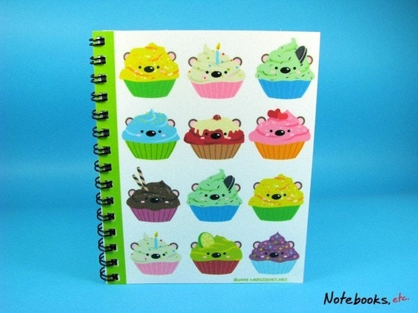 Cupcake Bears - Small 4 x 5 Blank Notebook