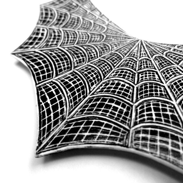 Halloween Black and White Spider Web Necklace  - Step into My Parlor - blockpartypress