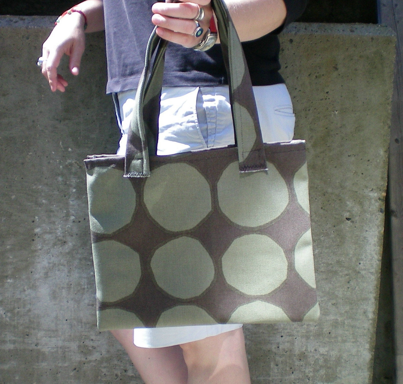 MARIMEKKO Beautiful Green and Brown Fabric Tote