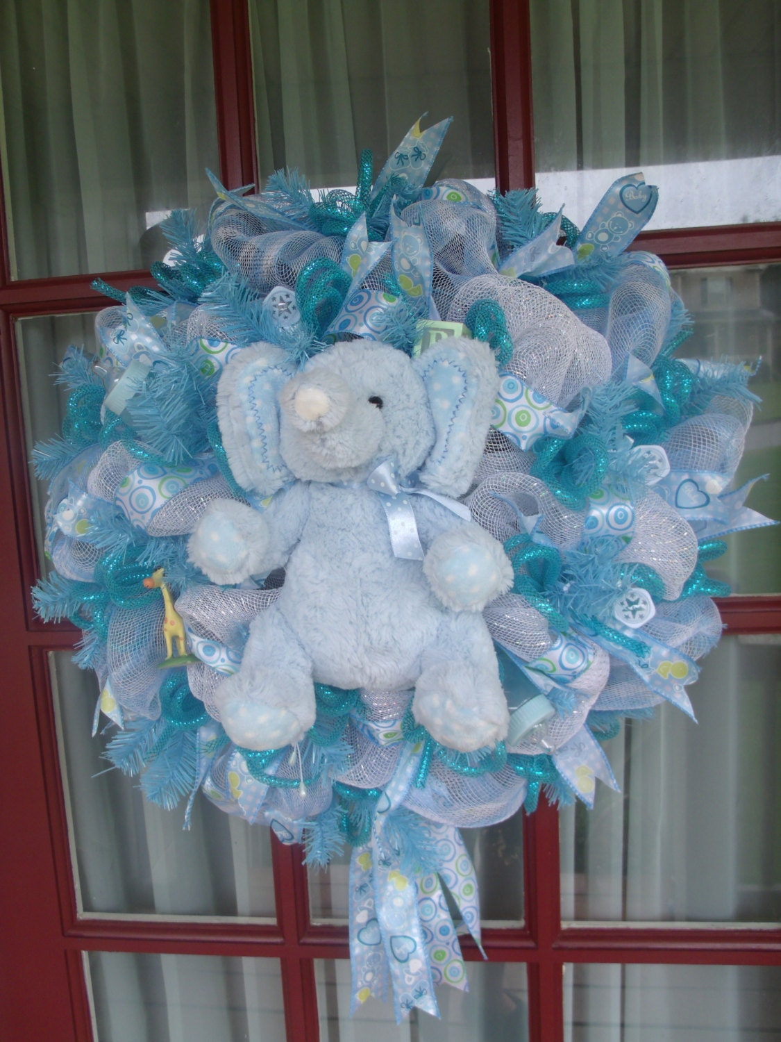 Items similar to baby blue newborn boy deco mesh baby shower boy wreath on etsy - Deco boy ...