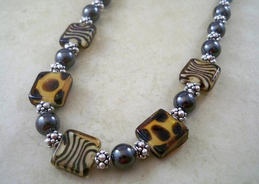 Hematite Necklace, Magnetic, with Tiger Print Glass Beads