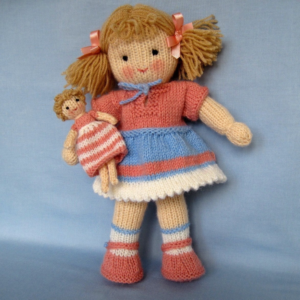 Wendy Knitting Patterns For Dolls : LULU and TINY DOLL knitted toy doll PDF email by dollytime