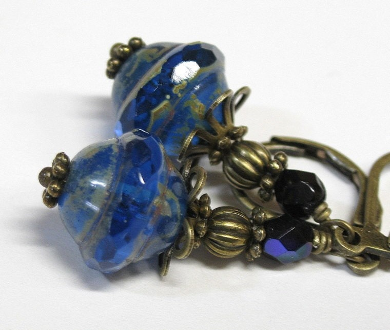 Sapphire Czech Glass Flying Saucer Bead Earrings