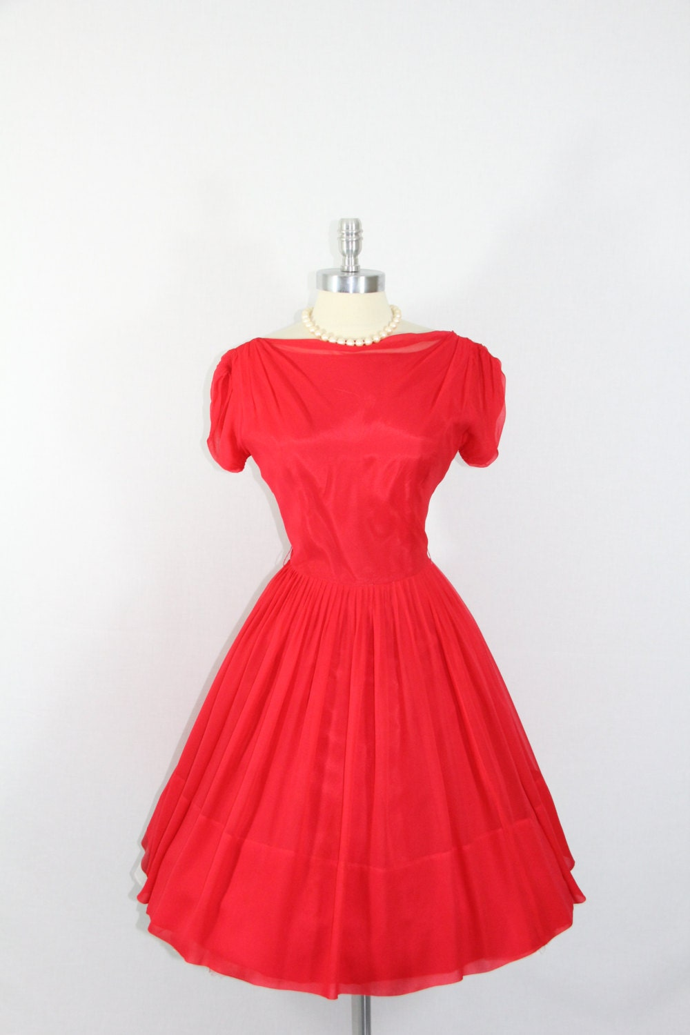 1950's Vintage Party Dress - Red Silk Chiffon Full Skirt Cocktail Party Dress