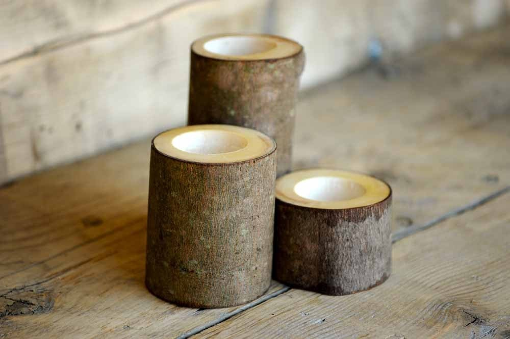 Trio of Maple Log Tea Light Holders Rustic Decor