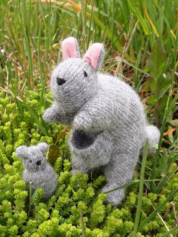 Wool felt Kangaroo Mom and Joey toy animal