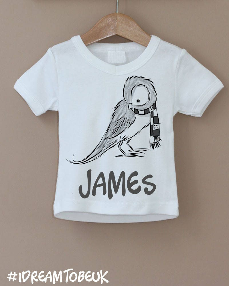 Personalised childrens kids tshirt. Bird sparrow woodland animal winter scarf design. Personlise childs name top. Contemporary drawing