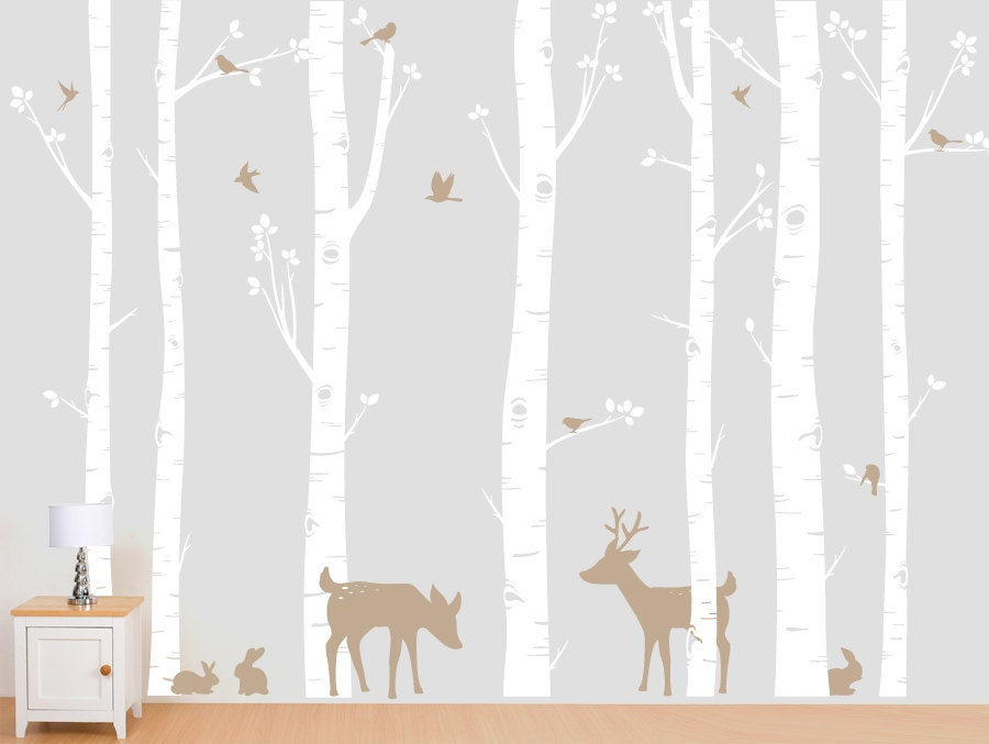 Birch Forest, Birch Trees, Birch Trees Vinyl, Birch Tree Wall Decal with Deer and Bunnies for Birch Nursery, Kids or Childrens Room - InAnInstantArt
