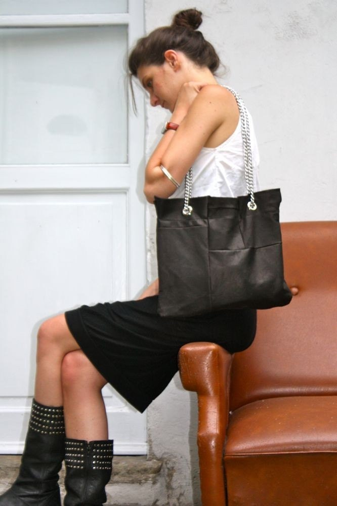 black quilted clutch. Quilted Clutch Silver Chain Strap Black Leather. From HomemadeBags