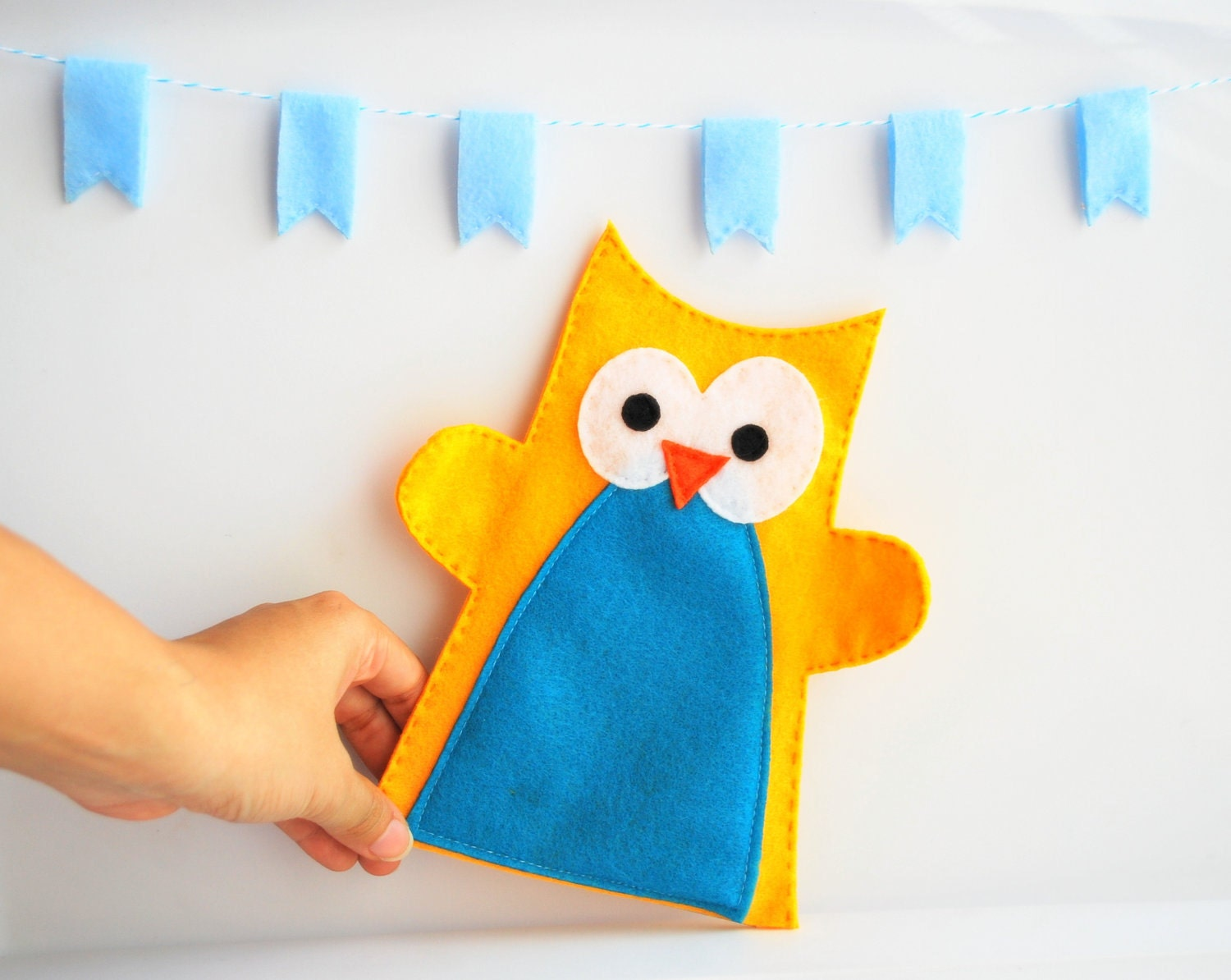MOVING SALE Yellow and Blue Owl Hand Puppet for Small Hand