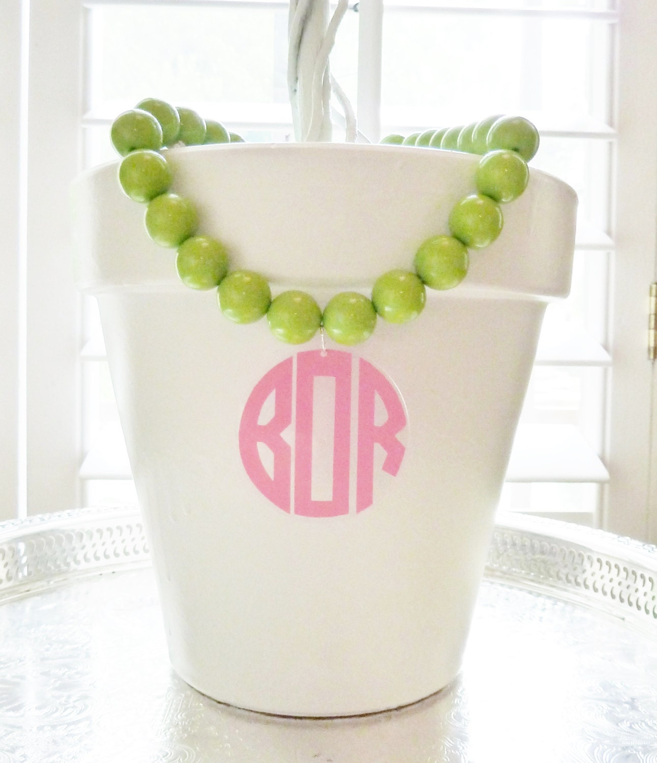 Monogram Necklace: Oversized Beads with Acrylic Pendant