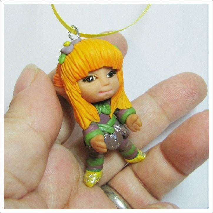 Chibi Flower                                                     Fairy Figurine                                                     Polymer Clay Hand                                                     Made OOAK Cutie                                                     Hanging Ornament