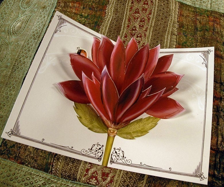 Red Blooming Popup Card