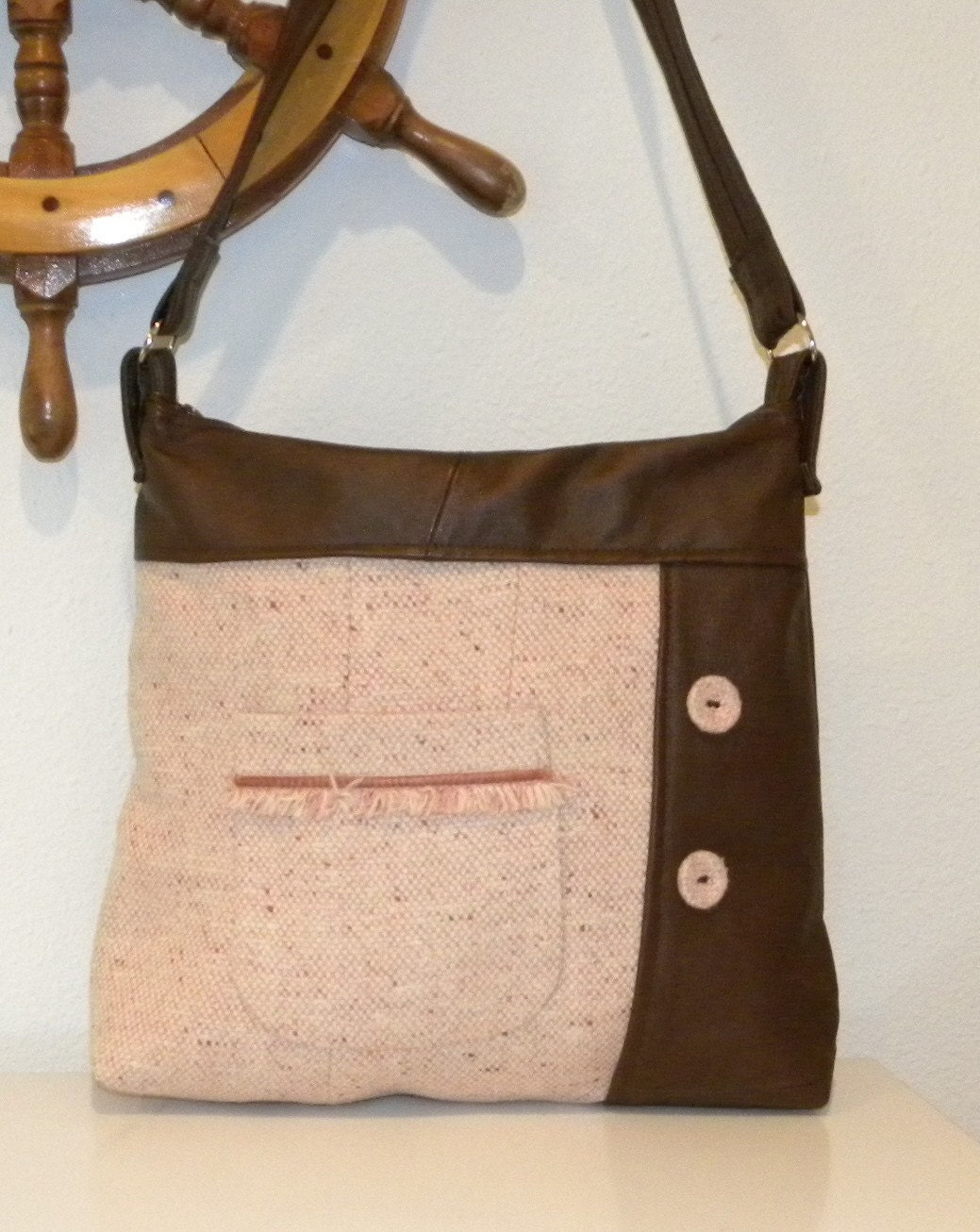 Handmade from a Reddish Brown Leather jacket and a Salmon Pink Tweed Jacket - Handbag - hobo bag - Tote Bag - Purse