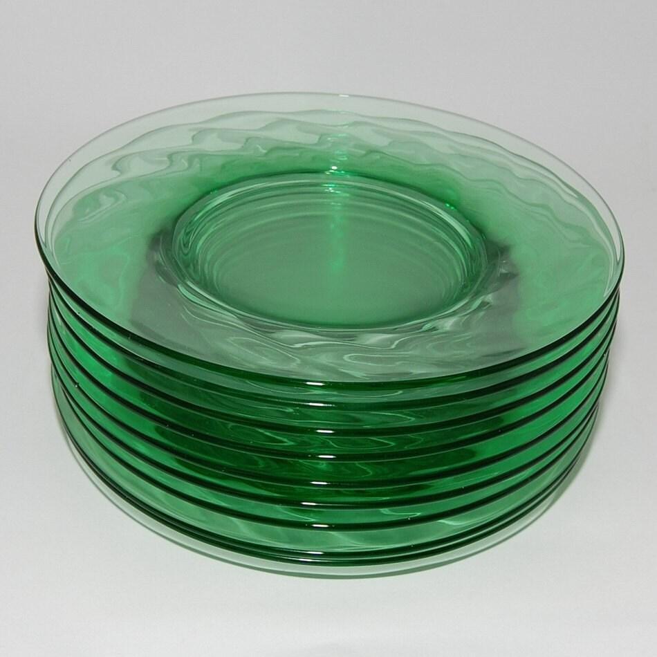 Vintage Depression Green Glass Salad Plates Spiral By