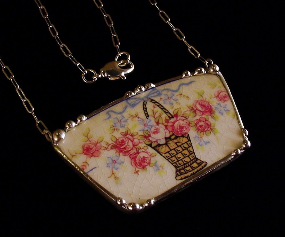 Broken china jewelry necklace vintage basket of pink roses made from a broken plate