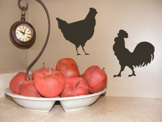Rooster Kitchen Decor Vinyl Wall Decal Set With Chicken French Country