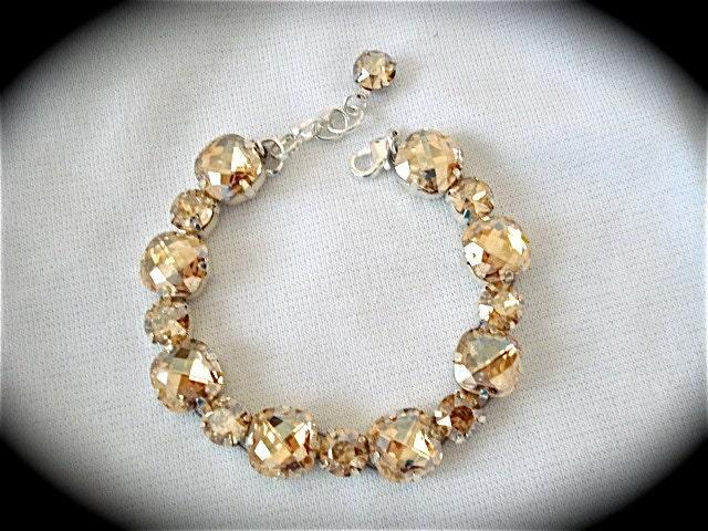 Champagne Bridal Bracelet, Swarovski crystal bracelet, chunky wedding bracelet, rhinestone bracelet, golden shadow bracelet, cushion cut