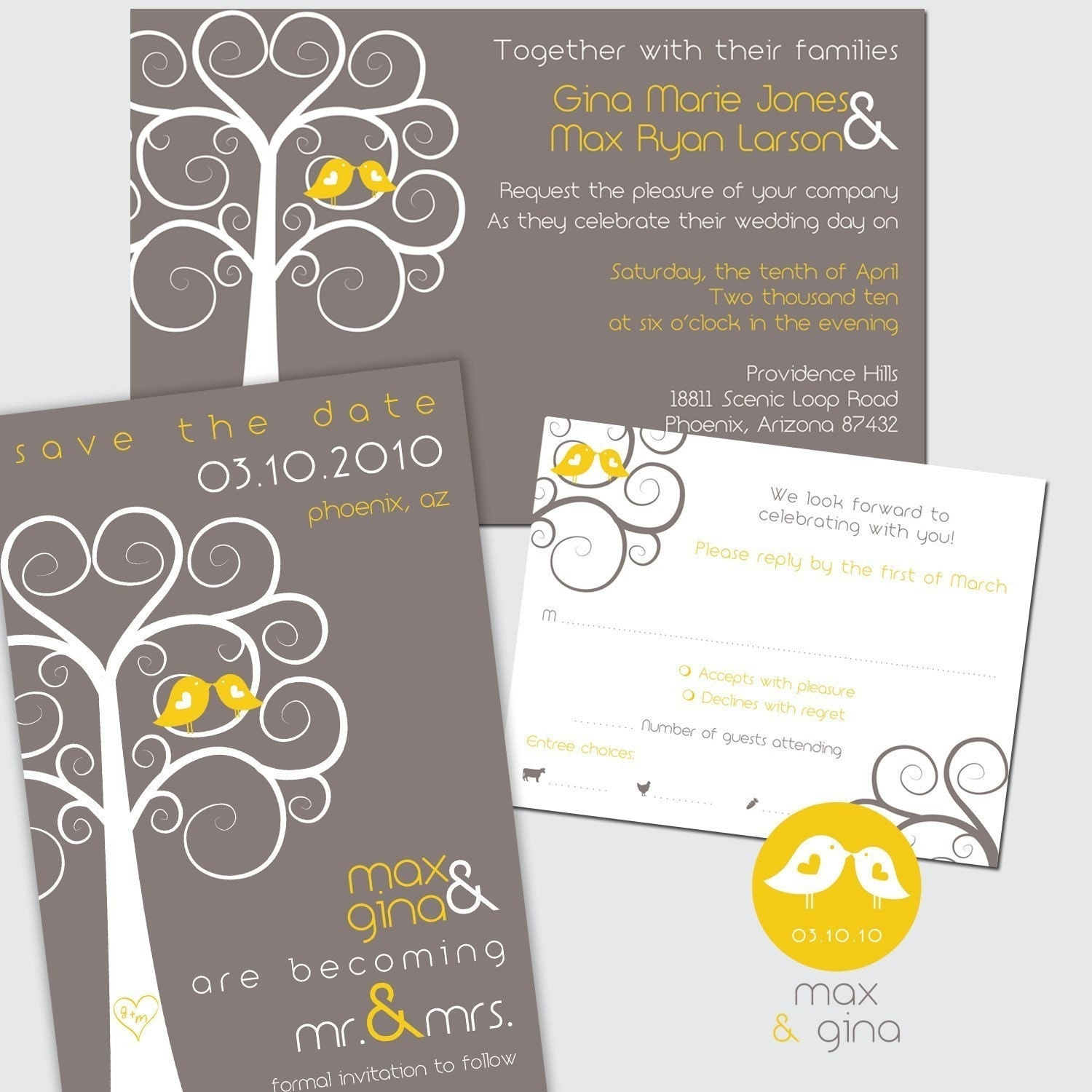 Custom Designed Swirly Tree Wedding Invitation Stationery Package Set - up to 4 pieces