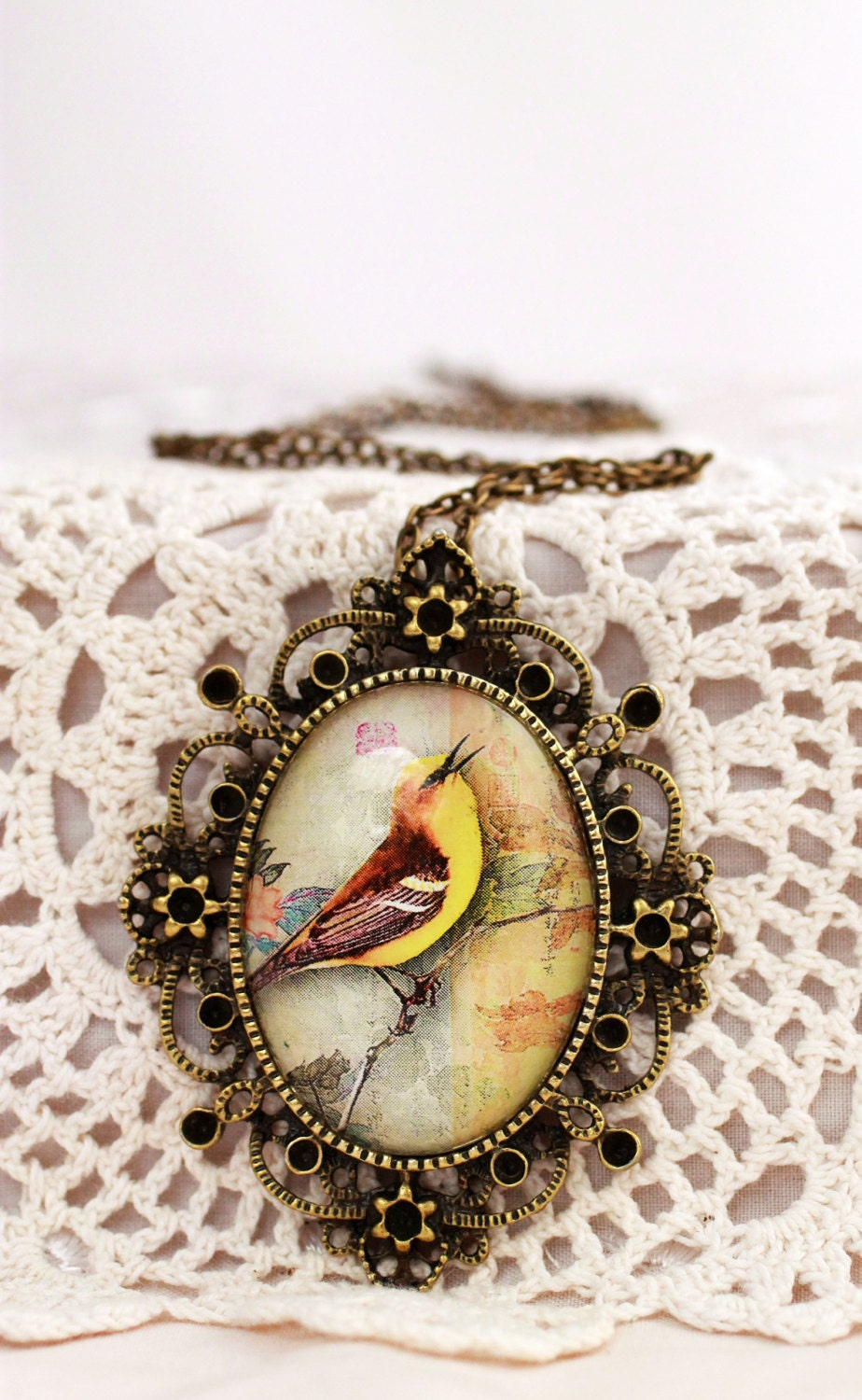Yellow bird pendant, Victorian necklace, glass dome necklace, songbird, filigree, steampunk, Victorian