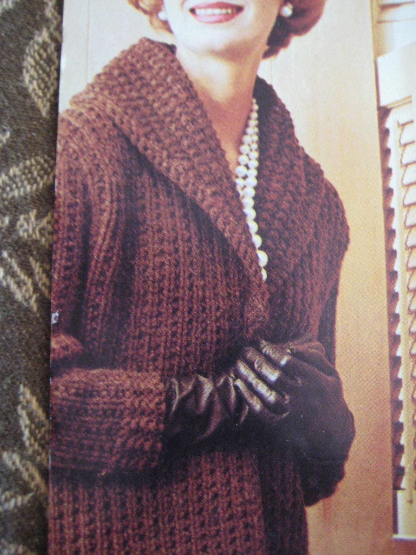 Knitting Pattern For Ladies Sweater : Knit sweater pattern ladies long coat by vintageknitcrochet