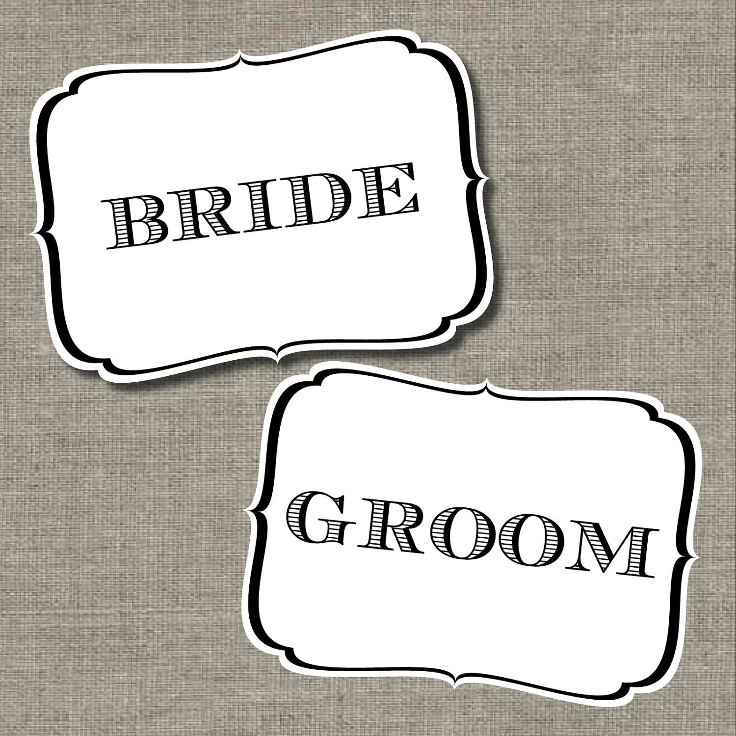 Printable Bride and Groom Chair Signs by Flair Designery