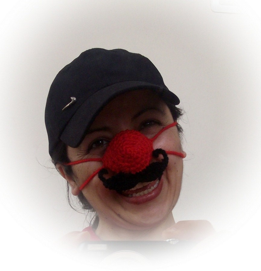 Crochet Nose Warmer : Red nose warmer with mustache Crochet Nose Warmer by xfunnyx