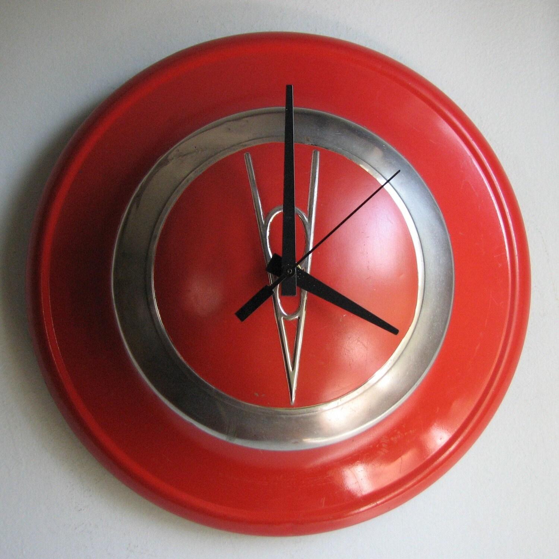 1937-39 Red Vintage Ford V8 Hubcap Clock