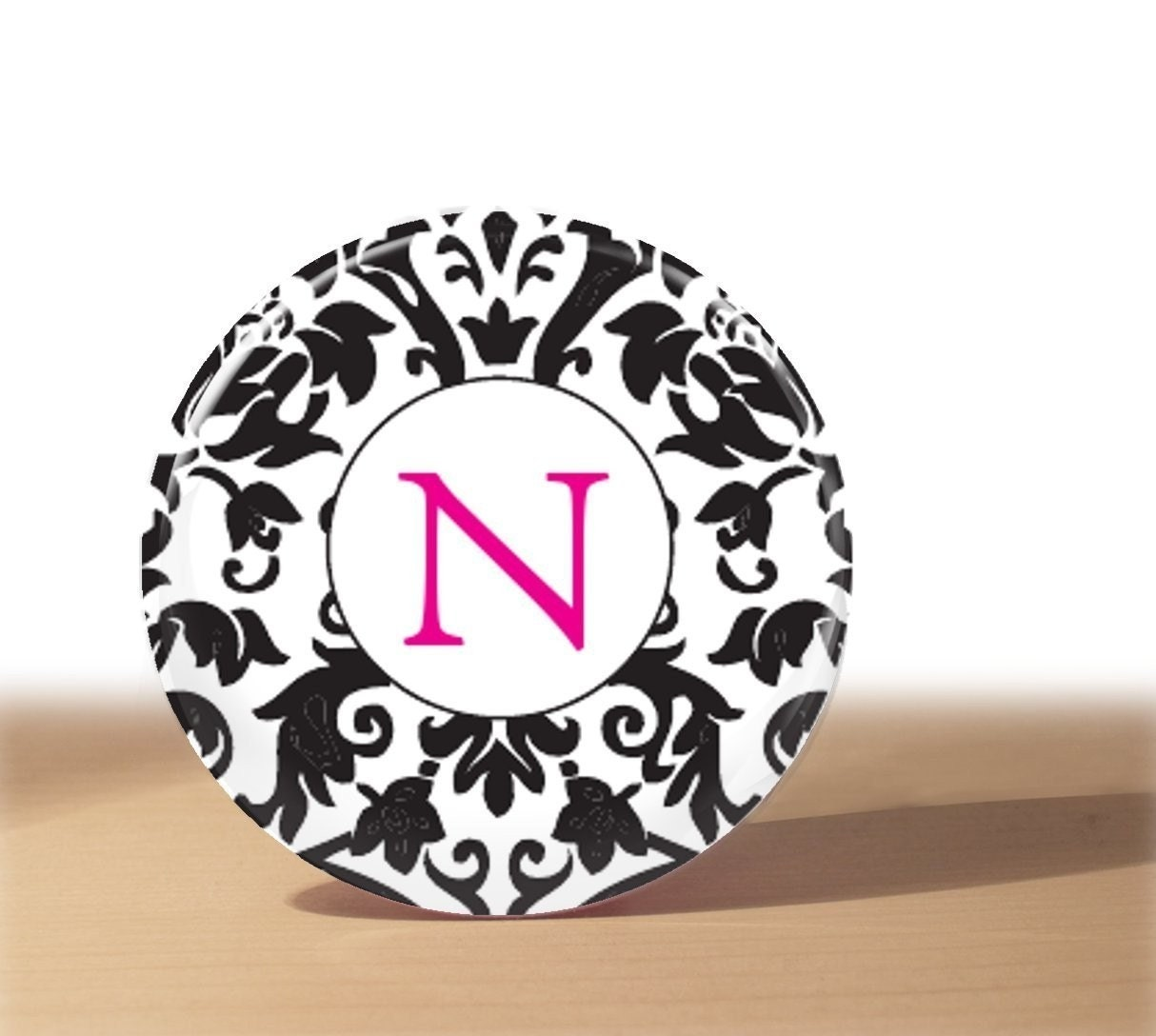 Black and White Damask with Pink Letter Pocket Mirror