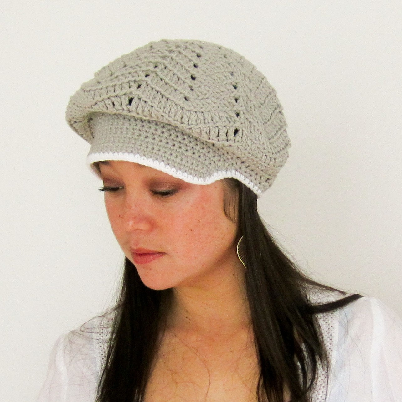 Slouchy Newsboy Hat in Stone