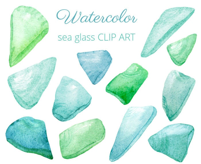 Blue and Green Seaglass - Watercolor CLIP ART - Digital images to download - for scrapbooking, card making, collage, digital creation - SandraOvono