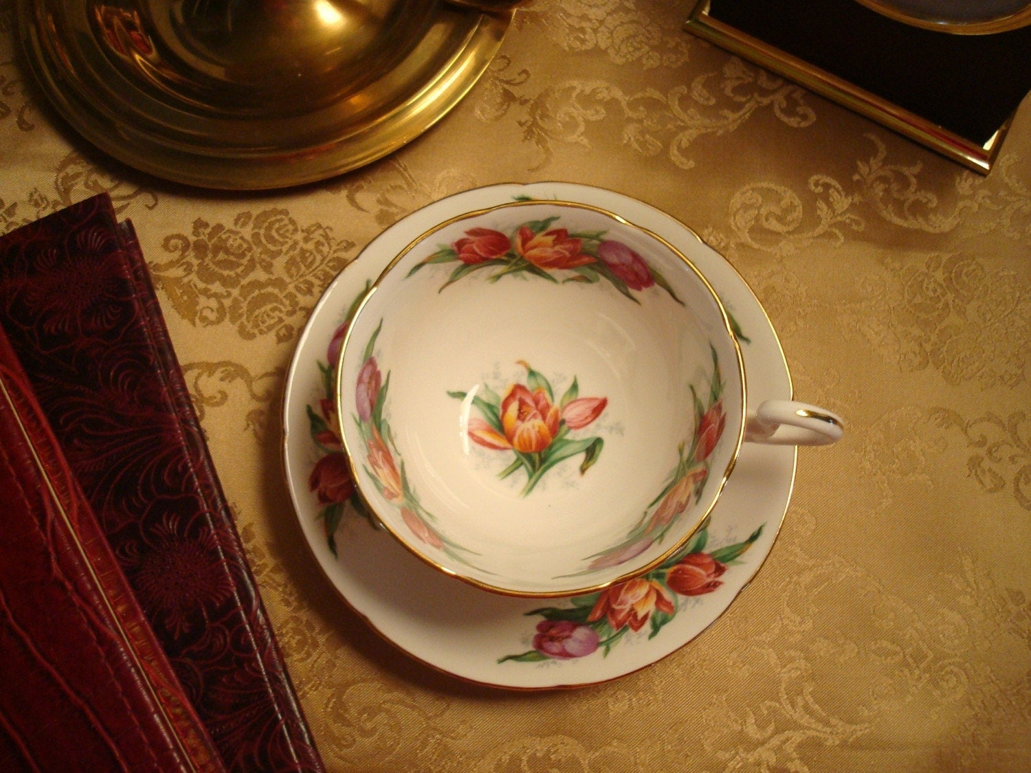Tea Time Necessity....The Kitty Bennet Teacup and Saucer...Beautiful Vintage Royal Grafton Bone China