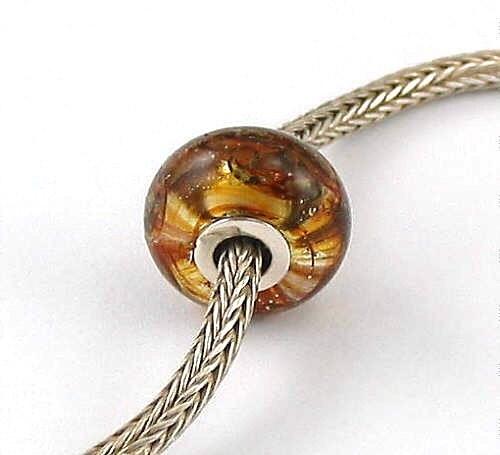 Etsy :: Silver Amber Bracelet Slider Bead for Troll Ayu , Fire-n-Sand Lampwork SRA EGA from etsy.com