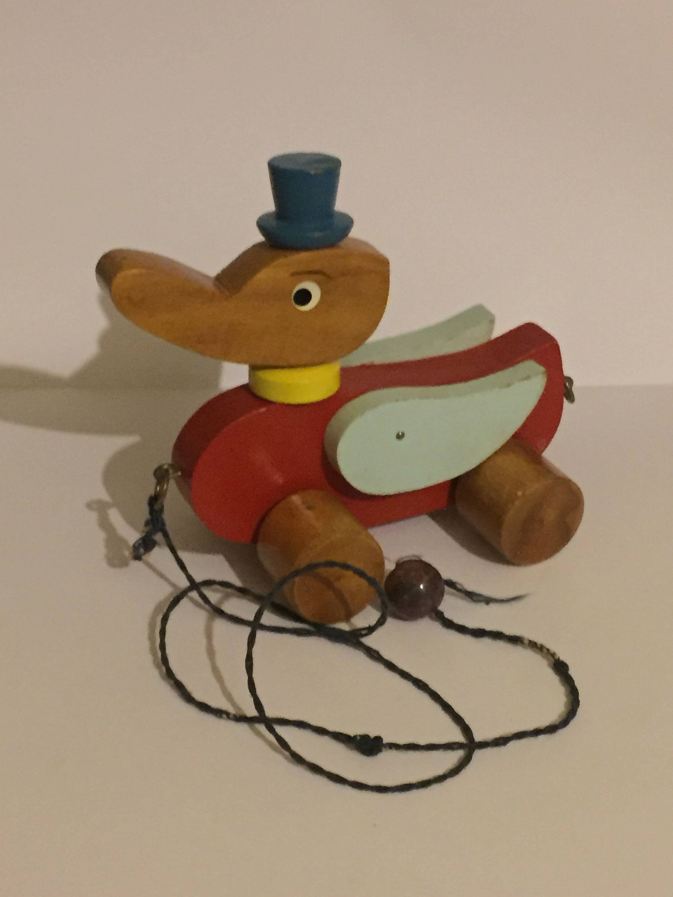 Vintage Wooden Pull Along Duck 1960s Retro Toy Duck In Top Hat