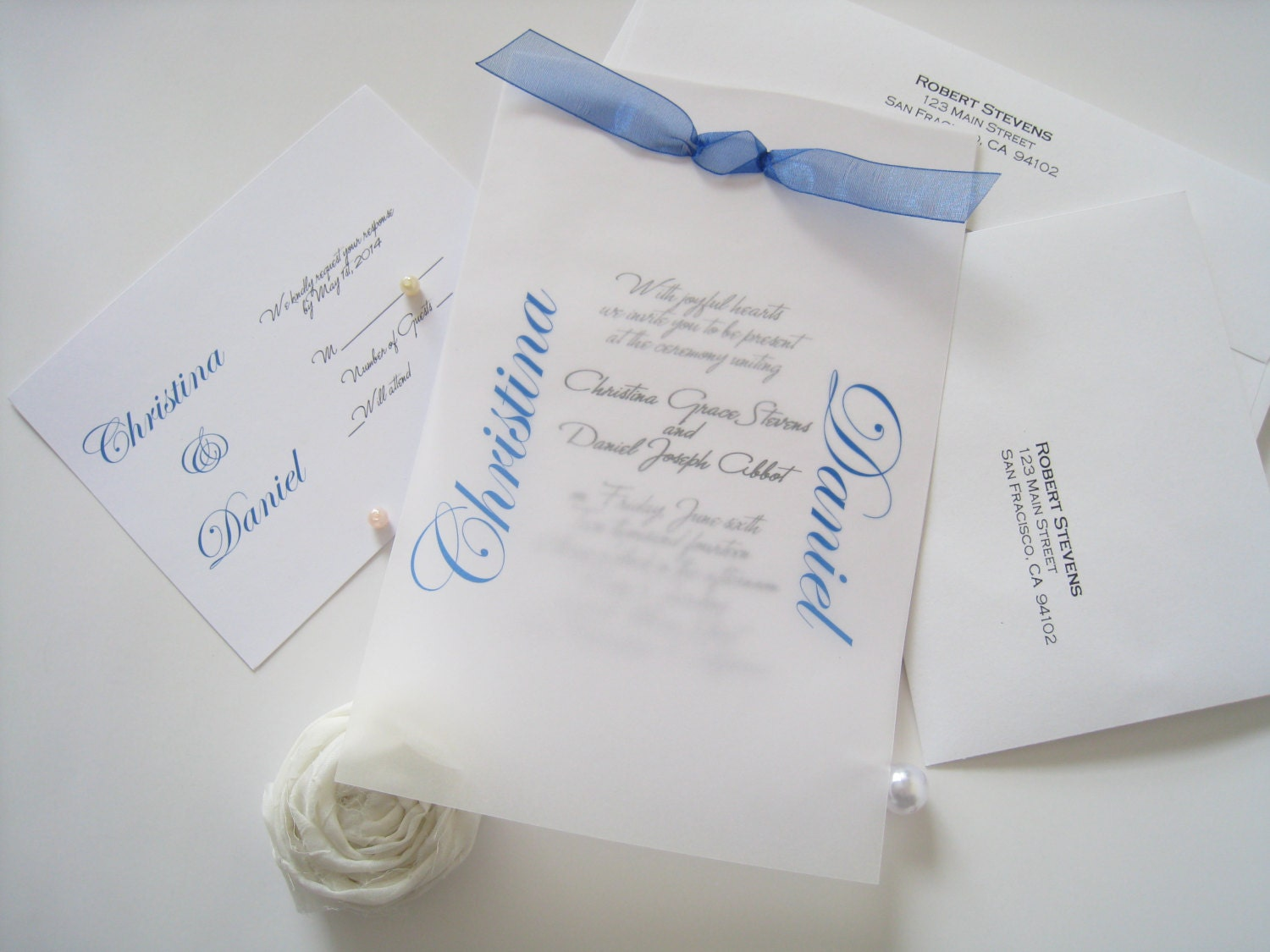 Layered wedding invitation with ribbon, simple and elegant - DEPOSIT for getting started - PaperLovePrints