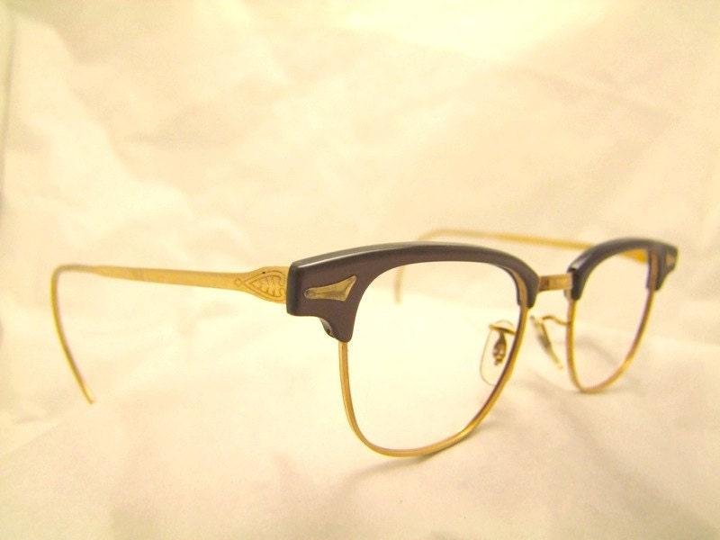 1940s eyeglasses craft horn rimmed 12 k gold by