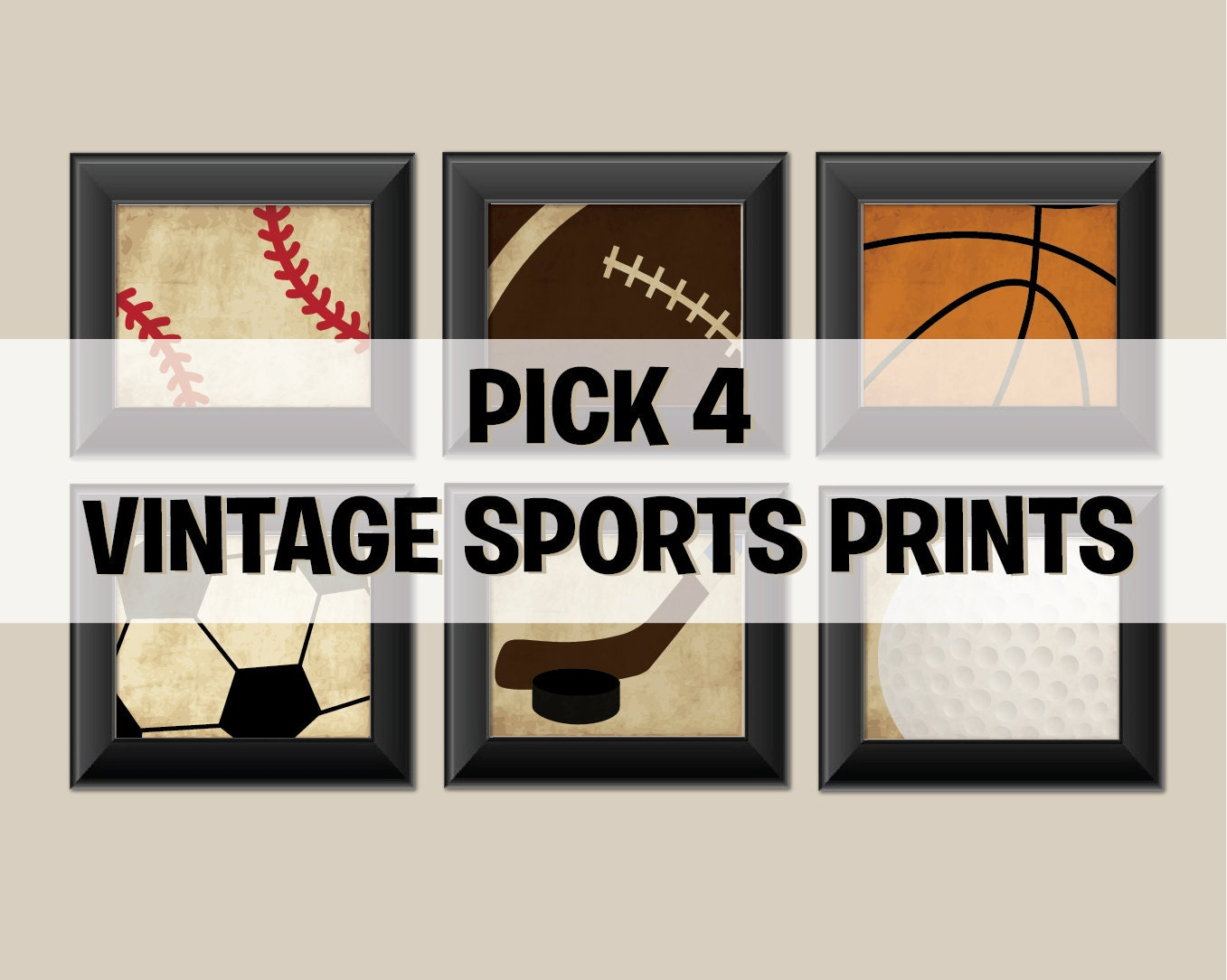 Pick 4 sports set of 4 vintage sports prints by augustandelm for Vintage basketball wall art