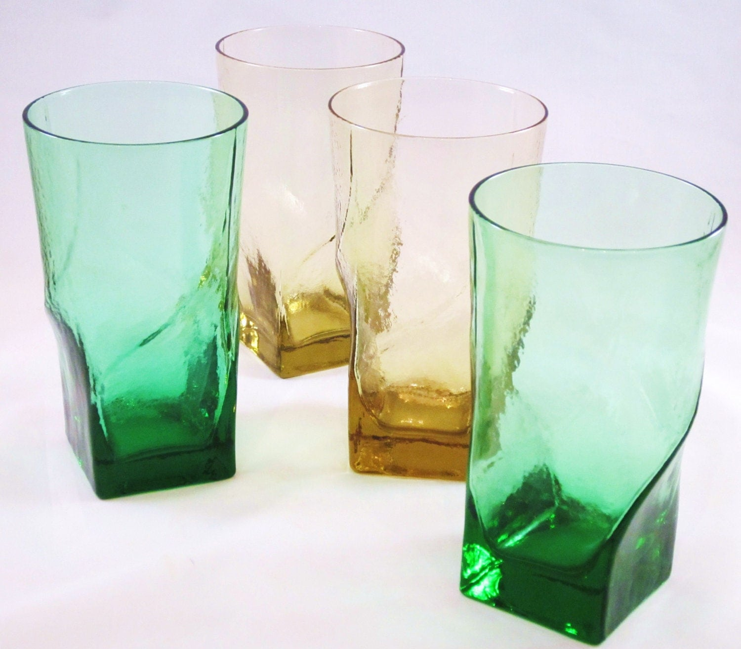 Vintage Drinking Glasses Colored Glass Modern Square By