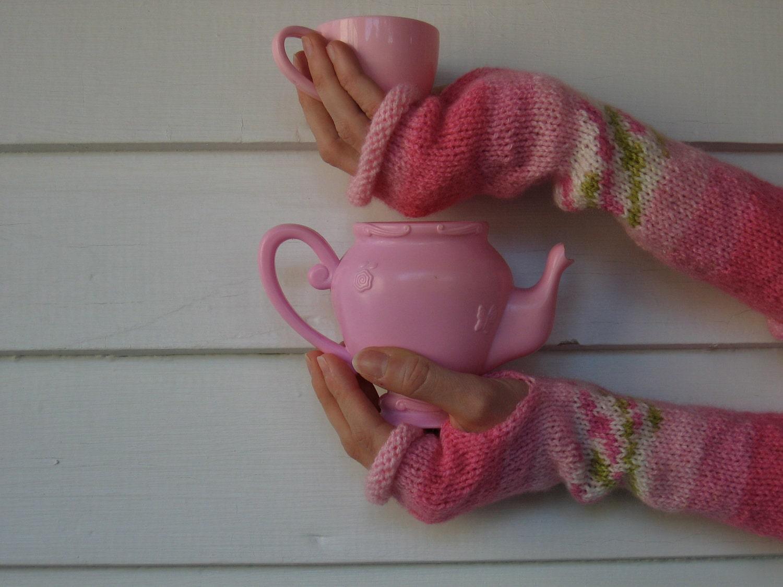 Pink Fingerless Gloves - Arm warmers - WaterBabiesArts