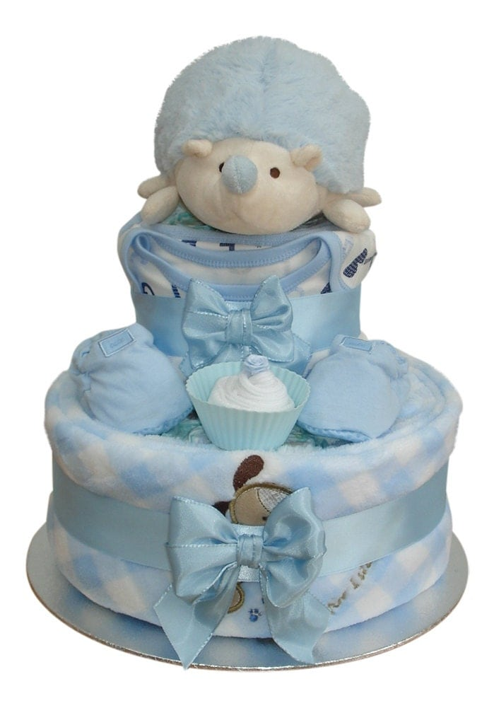 Harry Hedgehog Two Tier Blue Gingham Nappy Cake Baby Boy  Baby Shower Gift