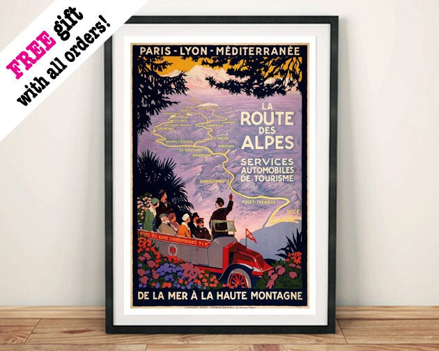 ALPES ROUTE POSTER Vintage Alpine Travel Advert Art Print Wall Hanging