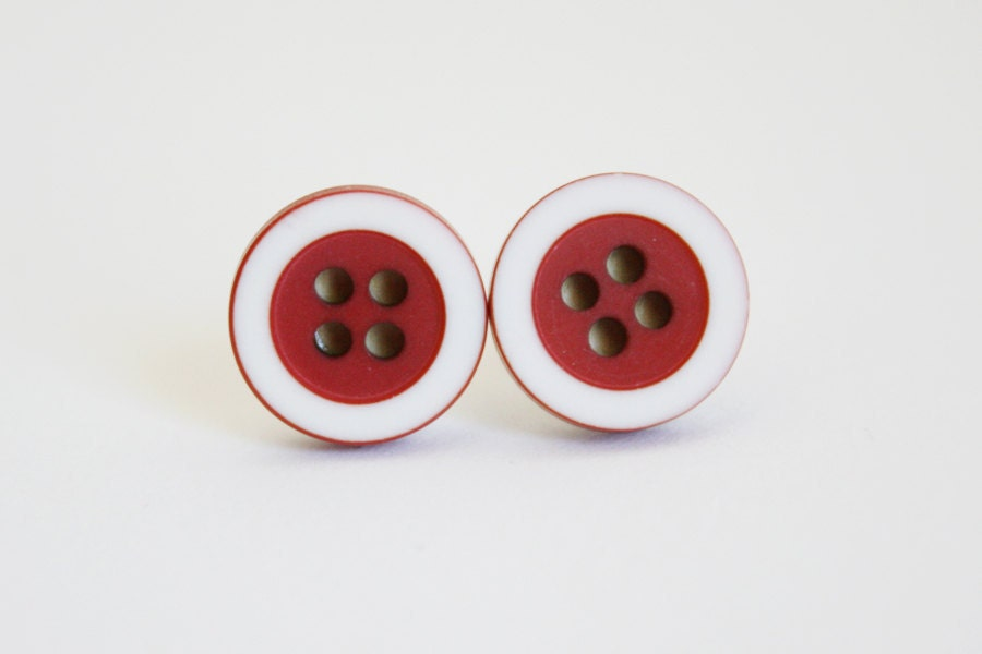 Contrast Buttons --- hypoallergenic button earrings