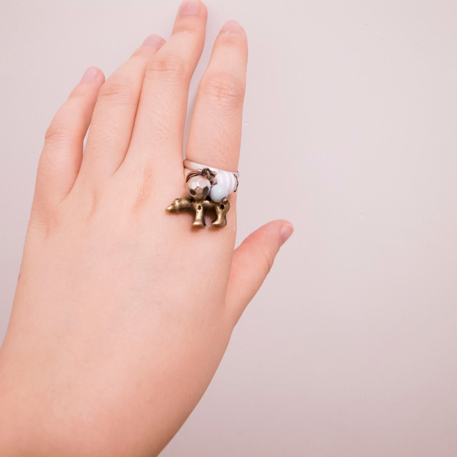 Cute Bear Charm Ring with Mint Blue and Silver Beads, Adjustable Ring, First Finger Ring, Bear Charm Necklace